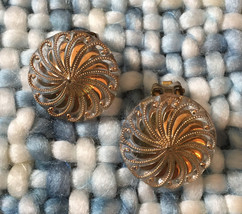 Glass Swirl With Gold Earrings, Vintage Jewelry, ETSY SALE - $17.00