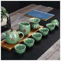 Crackle Glaze Teapot Set Ge Kiln Seal Embossed - $50.99