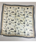 "Echo Gray Safari Globe Explorer Hunting Chiffon Silk Scarf 25"" Square Japan - $34.06"