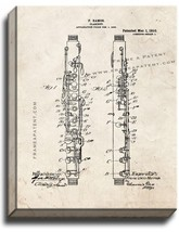 Clarinet Patent Print Old Look on Canvas - $39.95+