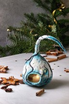 Handmade Felted Christmas Decoration Lantern Lamp with trees owl Winter ... - $61.00