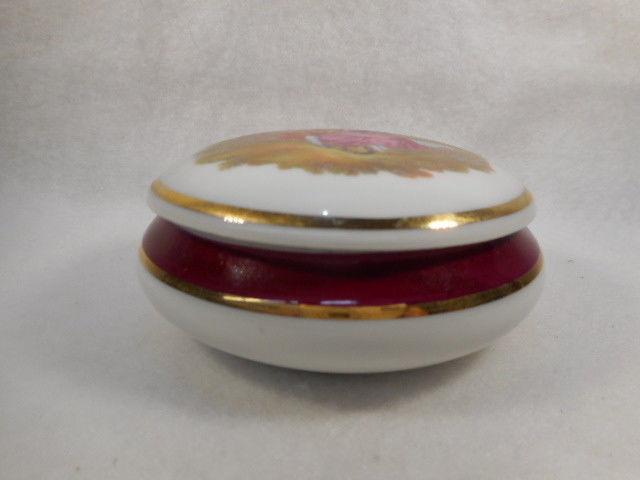 Vintage Round French Limoges Portrait Porcelain Dresser Trinket Box