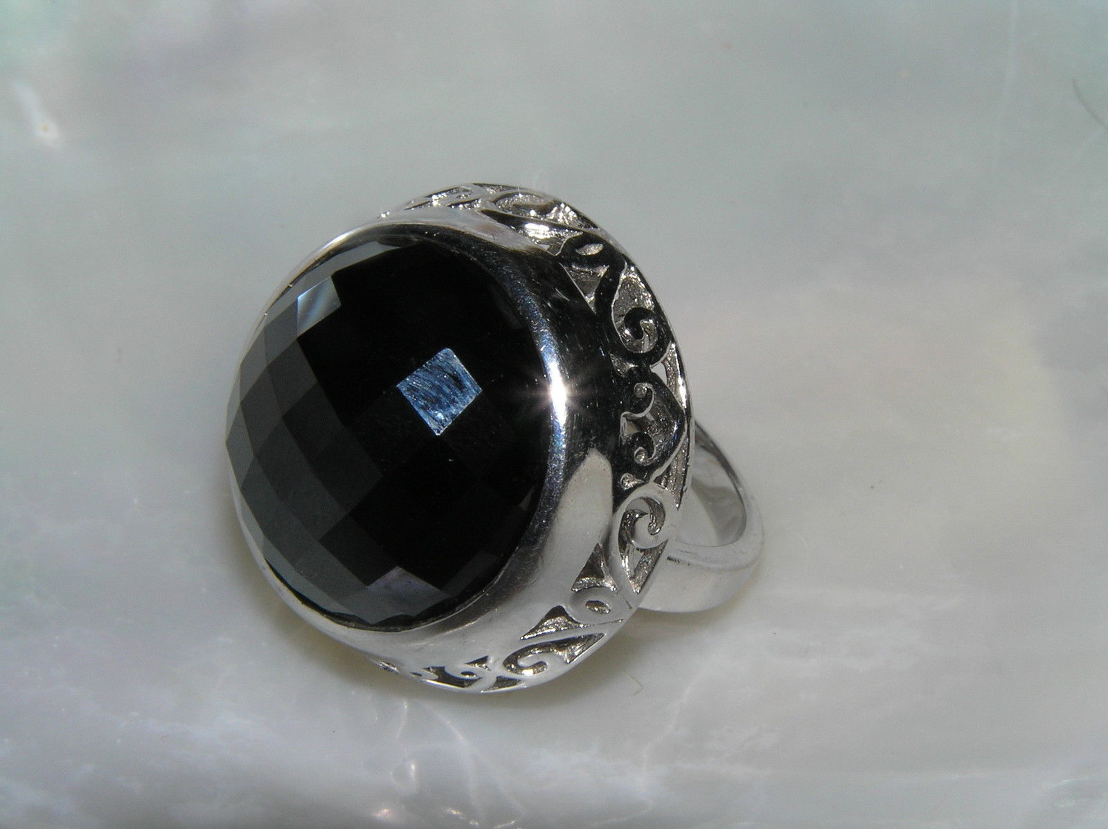 Estate 925 Sterling Silver Signed Large Faceted Black Glass Cab in Open Scroll image 5