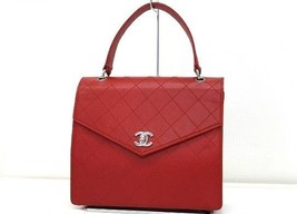 AUTHENTIC CHANEL Caviar Leather Quilted Hand Ba... - $1,730.00