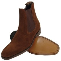 Ankle Boot Chelsea Brown Color Suede Leather Elastic Side Men Leather Shoe - $145.00+