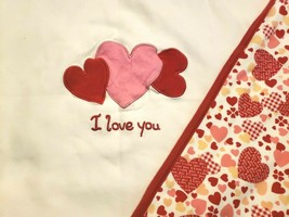 Gymboree I Love You Baby Blanket Valentines Day White Red Pink Hearts Cotton - $59.38