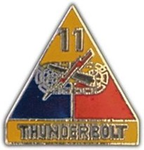 ARMY 11TH ARMORED DIVISION THUNDERBOLT  MILITARY PIN - $13.53