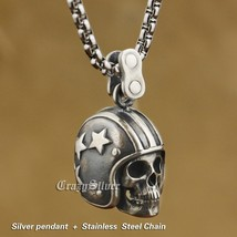 LINSION 925 Sterling Silver Motorcycle Helmet Skull Mens Punk Pendant Necklace image 3