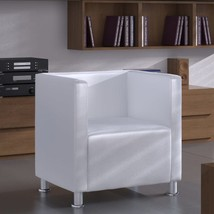 vidaXL Armchair w/ Cube Design Artificial Leather White Home Indoor Seating - $207.99