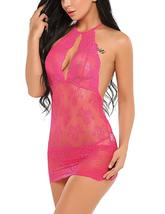 Women Babydoll Lingerie Lace Chemise Halter Nightwear Teddy Dress - $39.95