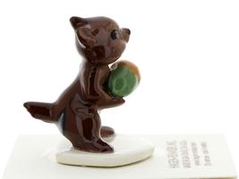 Hagen-Renaker Miniature Ceramic Figurine Chipmunk Holding Acorn on Base