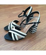 Anthropologie Vicenza Nautical Rope Beige Black Sandals Heels 40 Leather... - $79.20