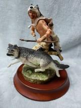 Franklin Mint WOLF RUNNER Native American Indian Man Figurine Sculpture ... - $137.61