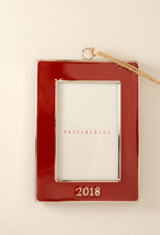 Pottery Barn 2018 dated red enamel frame Christmas ornament rectangular - $119.99