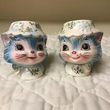 Vtg Lefton Miss Priss Cat Blue Kitty Floral Salt Pepper Set ORIGINAL STI... - $65.13