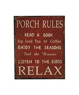 E-view Rustic Porch Rules Sign Metal Wall Sign Indoor Outdoor Home Decor - $14.11