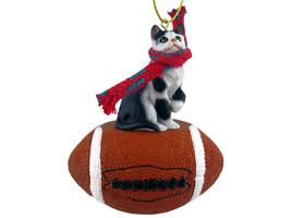 Black & White Shorthaired Tabby Cat Football Ornament - $17.99