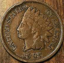 1907 USA INDIAN HEAD SMALL CENT PENNY - $3.53
