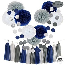 CHOTIKA 23pc Tissue Paper Flowers Pom Poms Party Girl Decorations Tassel... - $22.36