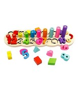 GEDIAO Wooden Montessori Math Blocks Shape Sorter Number and Stacking Le... - $23.34