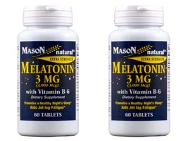 PACK 2 X 60 = 120 TABLETS EXTRA MELATONIN 3 MG VITAMIN B-6 NATURAL HEALT... - $10.35