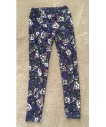 Lularoe One Size OS Leggings Purple W/ Pink and White Flowers Floral  - $13.96