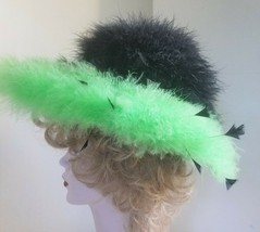 Ladies Green and Black Hat Hand Painted and Decorated Marabou Feathers C... - $29.92