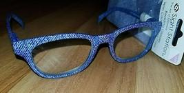 +3.25 Sight Station Foster Grant Delilah Trendy Denim Blue Reading Glasses +Case - $7.79