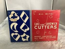 Vintage Bridge Club 6 All Metal Cake and Sandwich Cutters in original bo... - $9.90