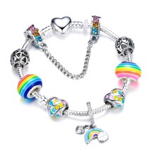 Silver Heart Shape Rainbow Beads Charm Bracelets For Girl Cute Rainbow Bridge Be - $9.85