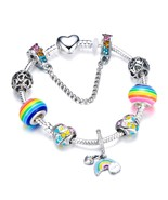 Silver Heart Shape Rainbow Beads Charm Bracelets For Girl Cute Rainbow B... - $9.85