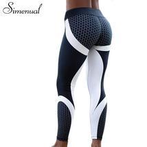 Simenual Harajuku push up leggings for women patchwork bodybuilding slim... - $24.68