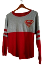 DC Comics Superman Logo Long Sleeve Junior Women's Two-Tone T-Shirt Tops... - $12.75