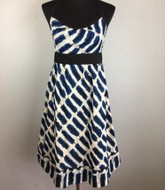 Anthropologie Maeve Setting Westward Dress 10 M Blue Black White Halter ... - $59.99