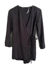 Zara Long Sleeve wrap Romper shorts black S jumpsuit dress skort Surplic... - $24.74
