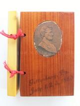 vintage/antique GETTYSBURG PA MUSEUM WOOD CEDAR ALBUM 17 mini PHOTOS sou... - $84.95