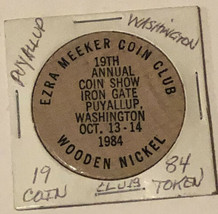 Vintage Ezra Meeker Coin Club Wooden Nickel Puyallup Washington 1984 - $5.93