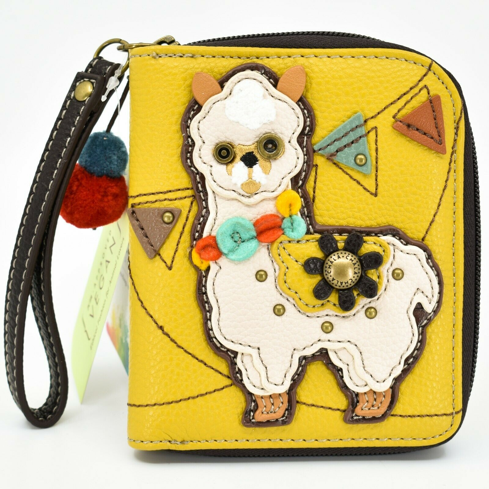 Chala Handbags Faux Leather Whimsical Llama Yellow Zip Around Wristlet Wallet