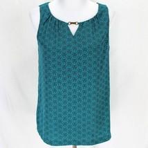 Dana Buchman Sleeveless Blouse Sz S Teal Blue Geometric Polyester Top - $12.99