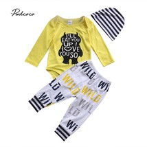 PUDCOCO Newest Newborn Baby Boys Top Yellow Long Sleeve Bodysuits+ Long ... - $11.99