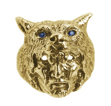Wolf Shaman Tribal spiritual Real Genuine 24K Gold Plated vermeil ring S... - $119.99