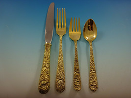 Repousse Gold by Kirk Sterling Silver Flatware Service 12 Set Vermeil 48... - $4,195.00