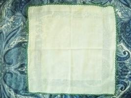 1940S LIGHT GREEN SOFT COTTON  LADIES HANDKERCHIEF W/GREEN CROCHET BORDERS - $4.99