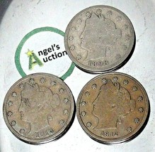 Liberty Head Nickel Five-Cent V Pieces 1898, 1910 and 1912 AA20-CNN2147 Antique image 1
