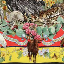 GRAIL Hermes Scarf Auth FAUNE ET FLORE DU TEXAS 90cm Silk KERMIT OLIVER - $589.95