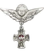 5-Way - Red - Baby Badge and Angel with Wings Badge - Sterling Silver Pin - $57.99