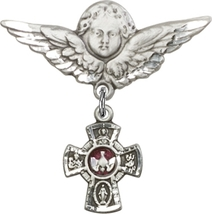 5-Way - Red - Baby Badge and Angel with Wings Badge - Sterling Silver Pin - $78.99