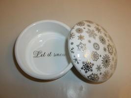 Charter Club LET IT SNOW Ceramic Box NEW Christmas Lane Holiday Macys NWOB - $34.65
