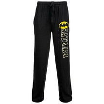 Batman Bold Symbol Over Text Outline Unisex Sleep Pants Yellow - $30.98