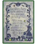 Old Witch Mary halloween cross stitch chart Waxing Moon Designs  - $6.30